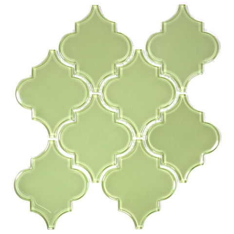 Glass Arabesque Tile (Light Olive)