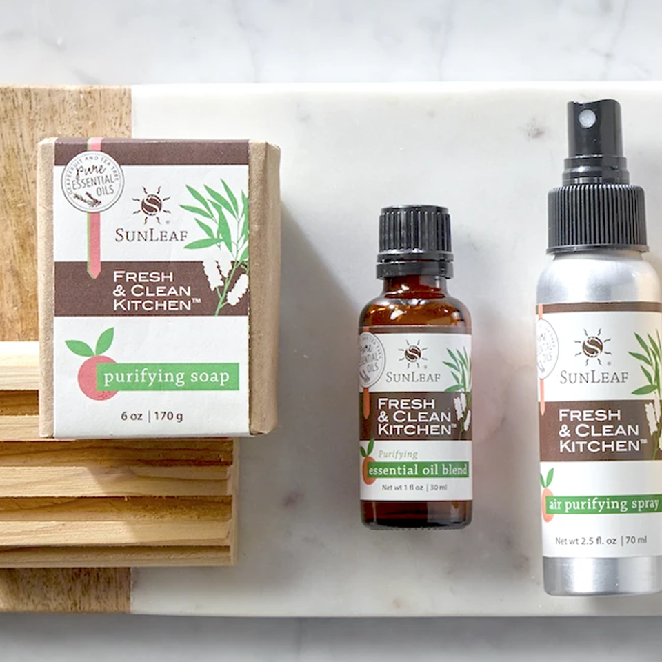 Fresh & Clean Kitchen collection; all-natural cleaning products for the home.