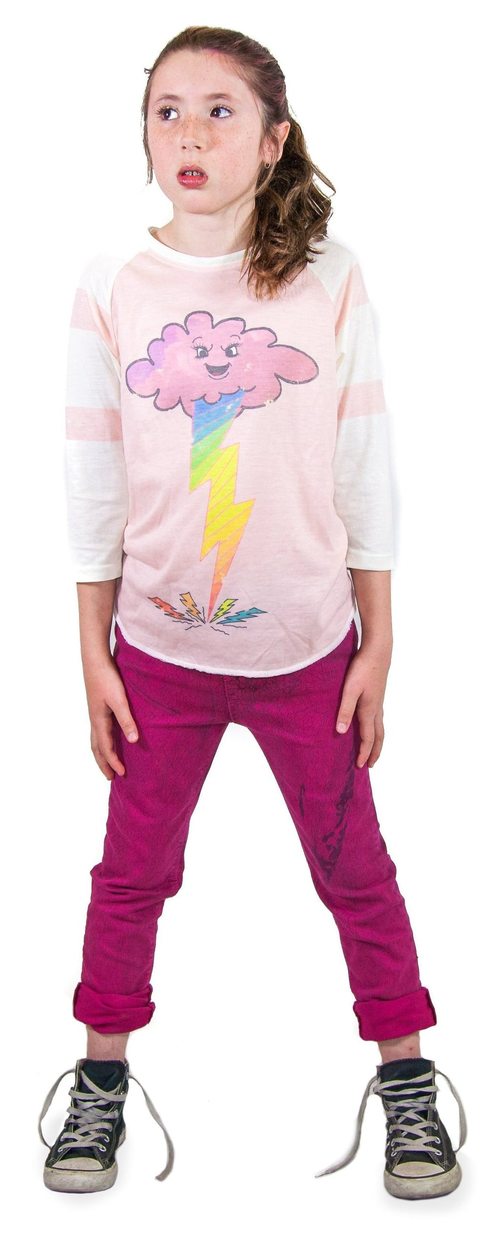 Old school retro raglan lightning cloud manga