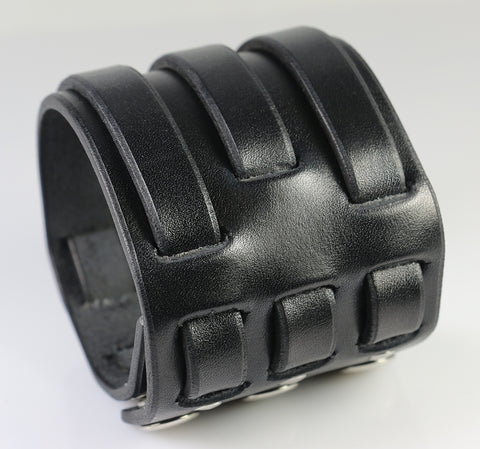 Triple Weave Leather Wristband