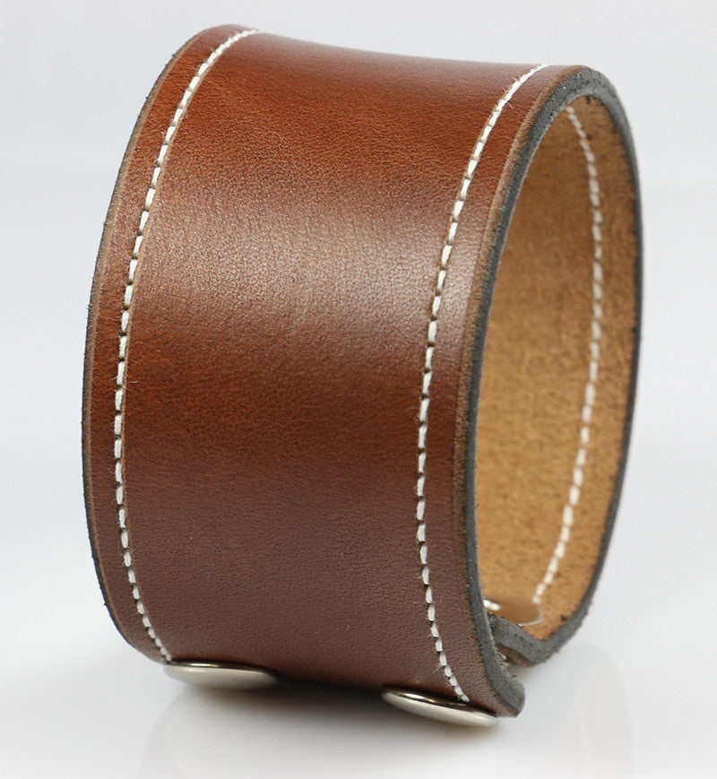 "1 5/8"" Brown Leather Wristband with White Stitching"