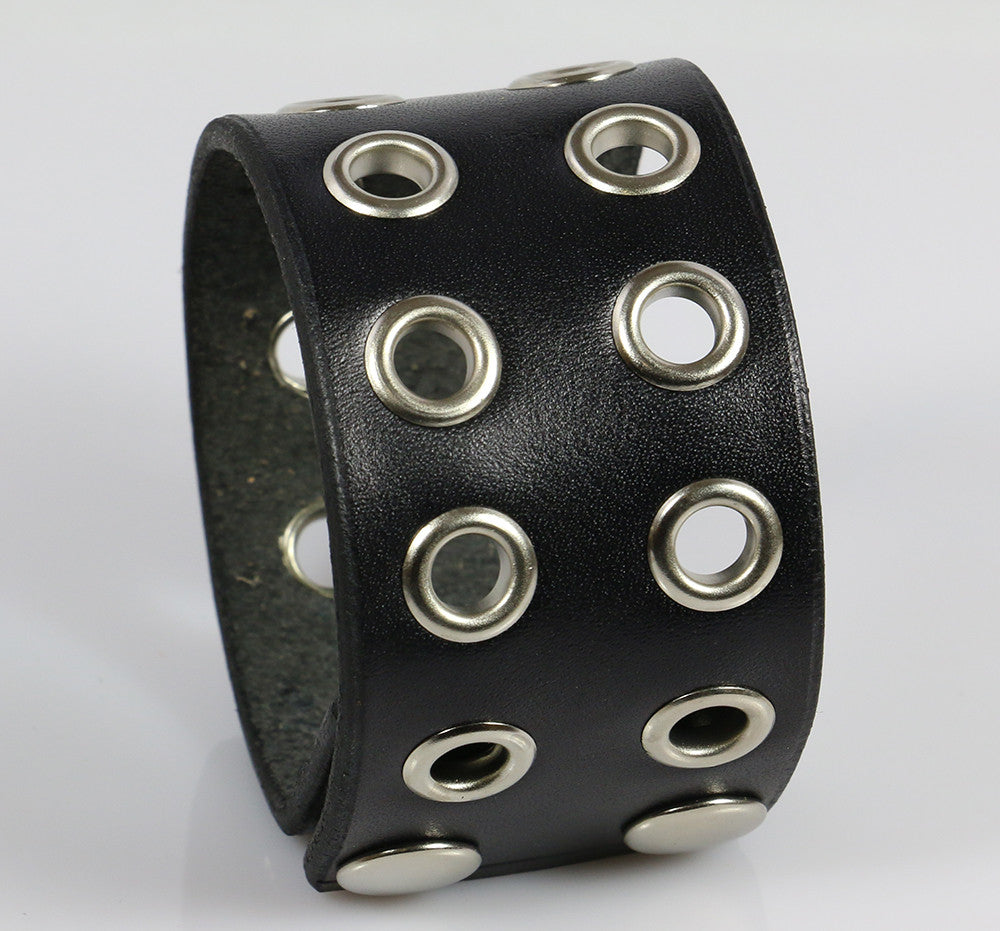 Two Row Eyelets Bracelet Cuff, Black