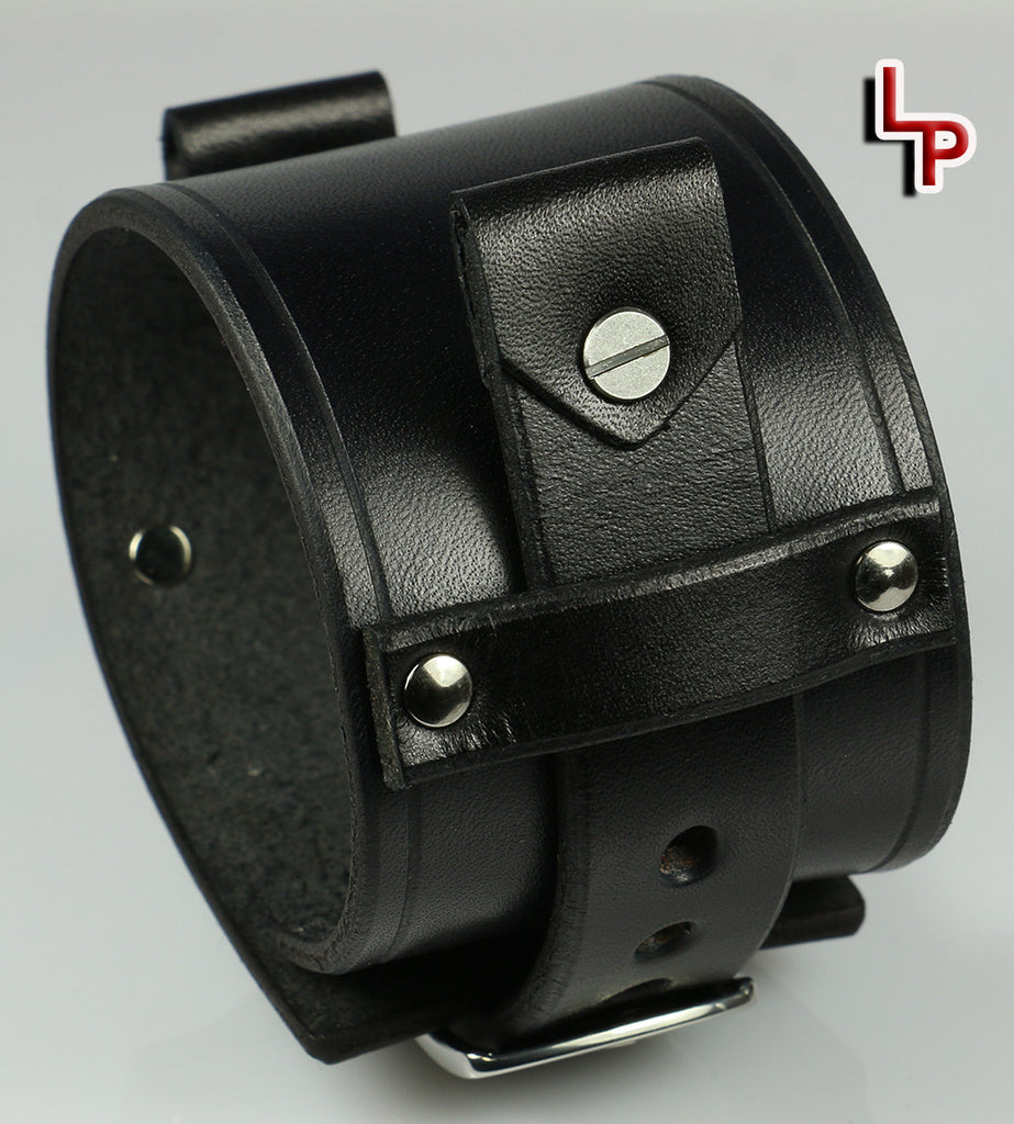 Mens Leather Watch Cuff, 2 Inches Wide