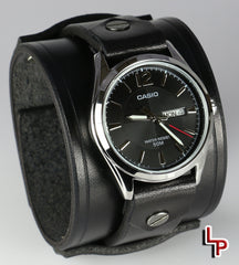 2 Inch Wide Watch Cuff, Black Leather, Casio 1335