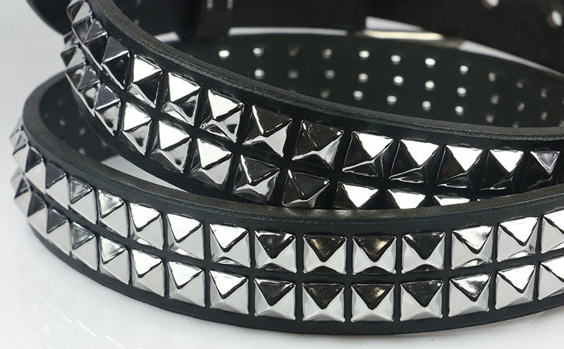 2 Row Pyramid Studded Leather Belt