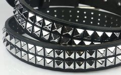2 row pyramid stud leather belt