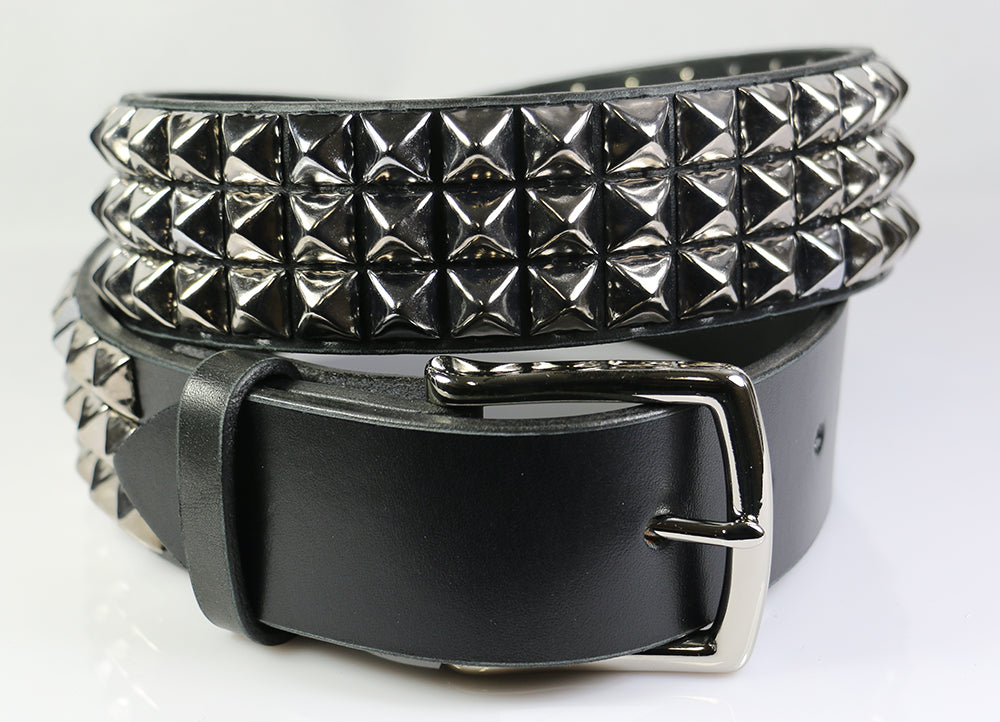 3 row pyramid studded belt with 1/2 inch studs