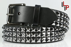 "Classic 3 Row Pyramid Studded Leather Belt, 1.5"" Removable Buckle"