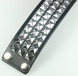 Three Row Pyramid Studded Leather Wristband