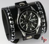 Studded leather watch cuff with Casio chronograph
