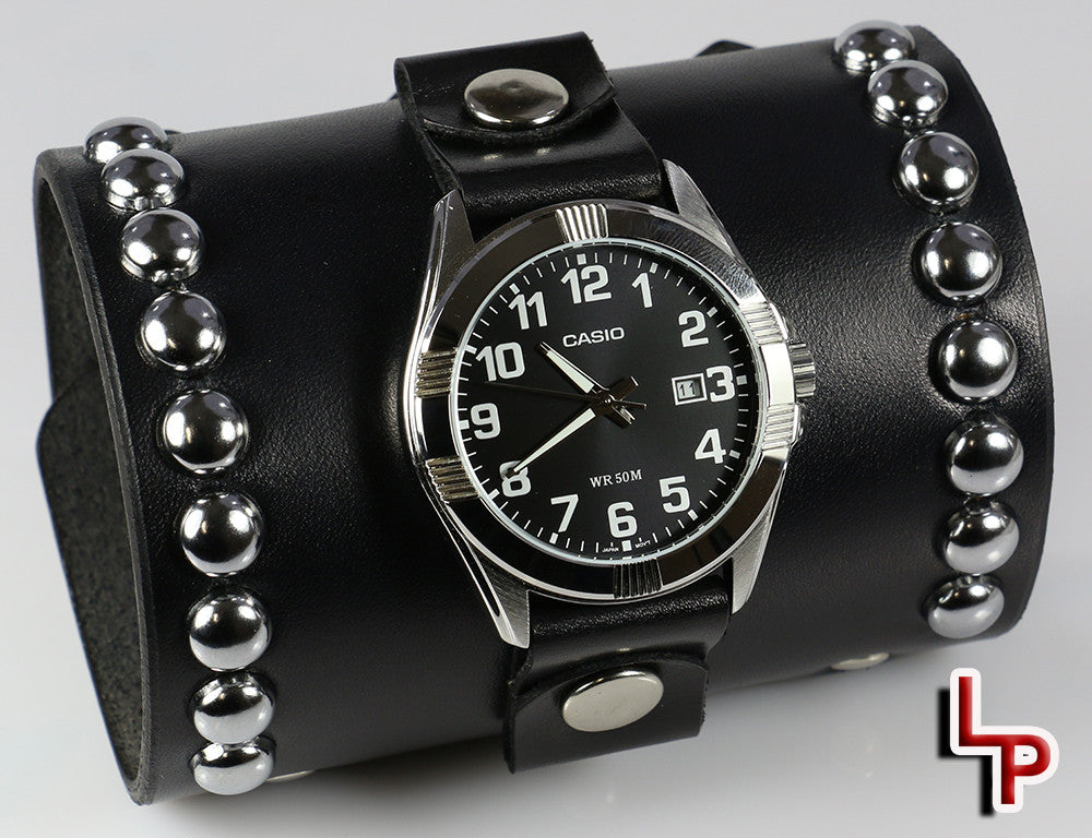 "Dome Studded Watch Cuff, 4"" Wide, With Timepiece"