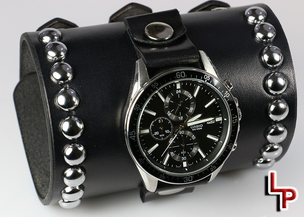 4 Inch Wide Leather Watch Cuff with Casio Chronograph