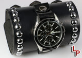 4 inch wide leather watch cuff, casio chronograph