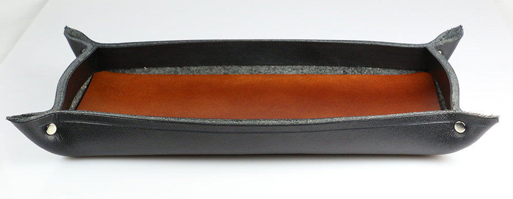Rectangular black leather tray with brown base