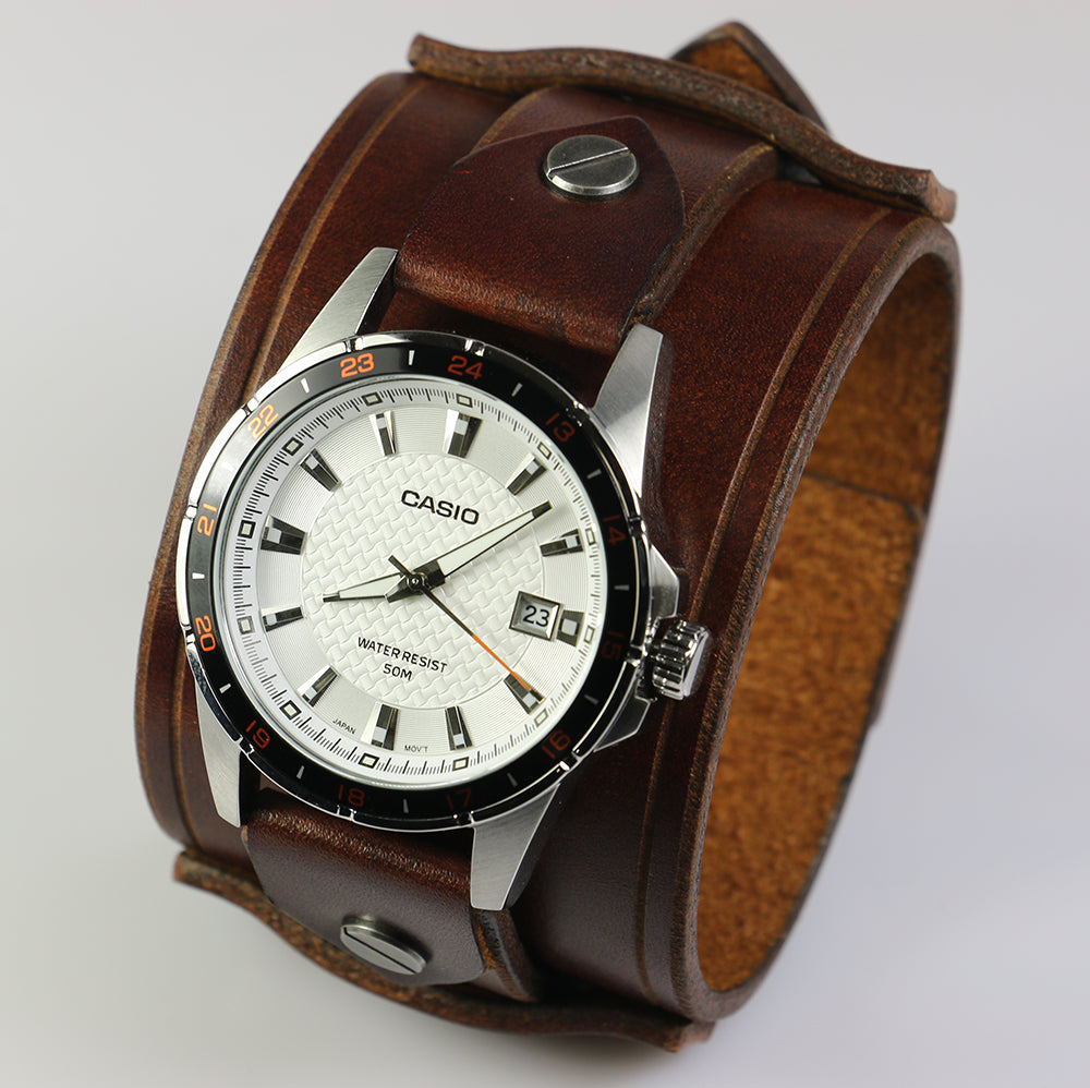 Brown 2 Inch Leather Watch Cuff/Band with Casio