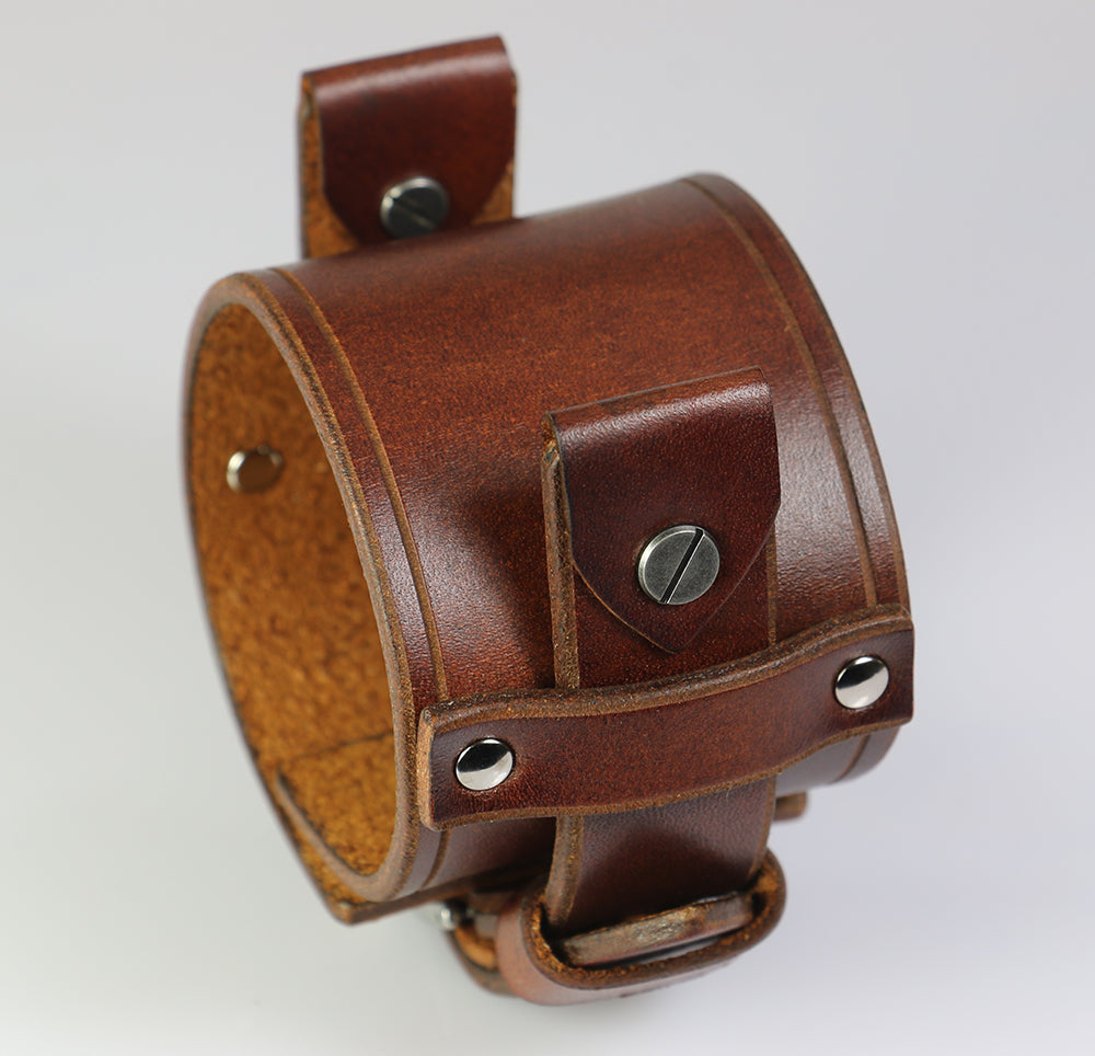 Brown Leather Watch Band with Chicago Screws