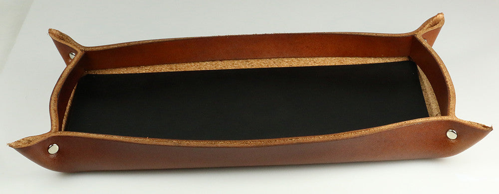Brown leather tray with black base
