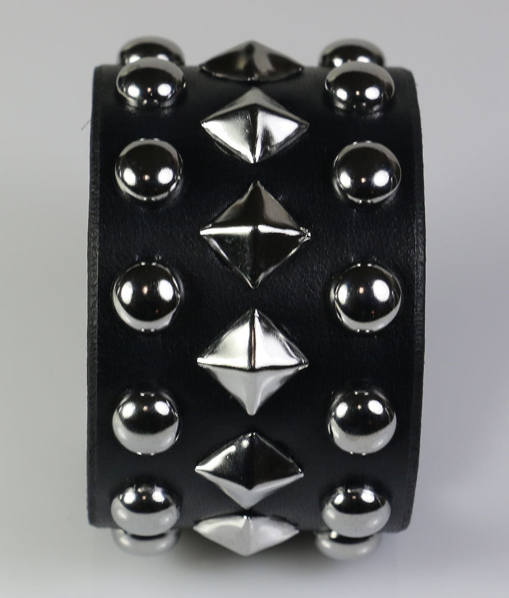 wristband with diagonal pyramids with dome studs