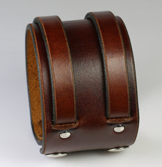 Brown Leather Double Weave Wristband