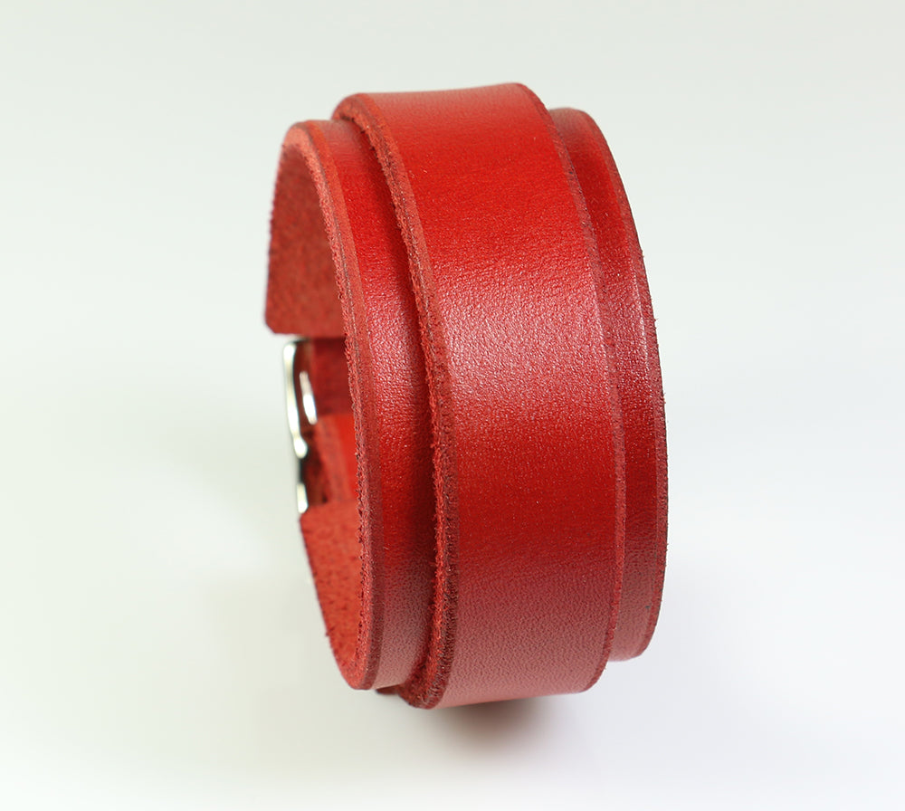 Red Buckling Leather Wrist Cuff
