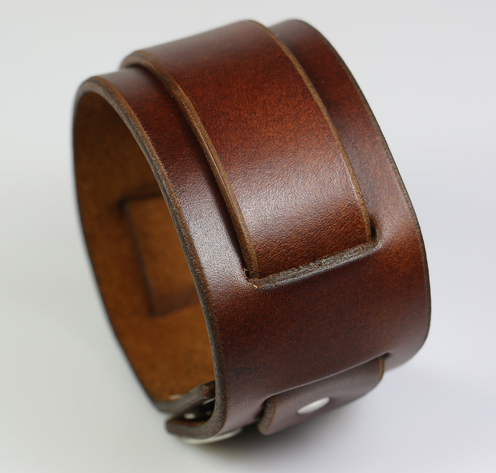 "Brown Leather Super Weave, 1.75"" wide"