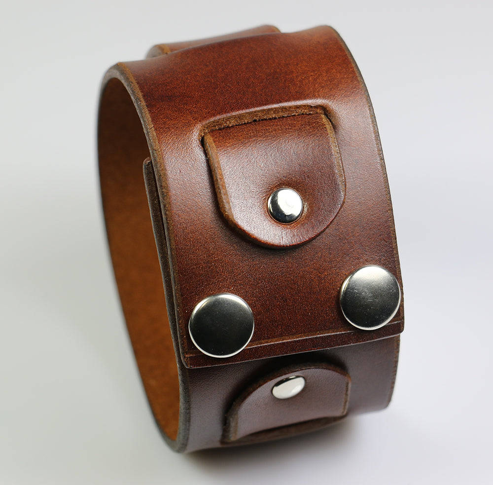 Super Weave Wristband, Brown Leather