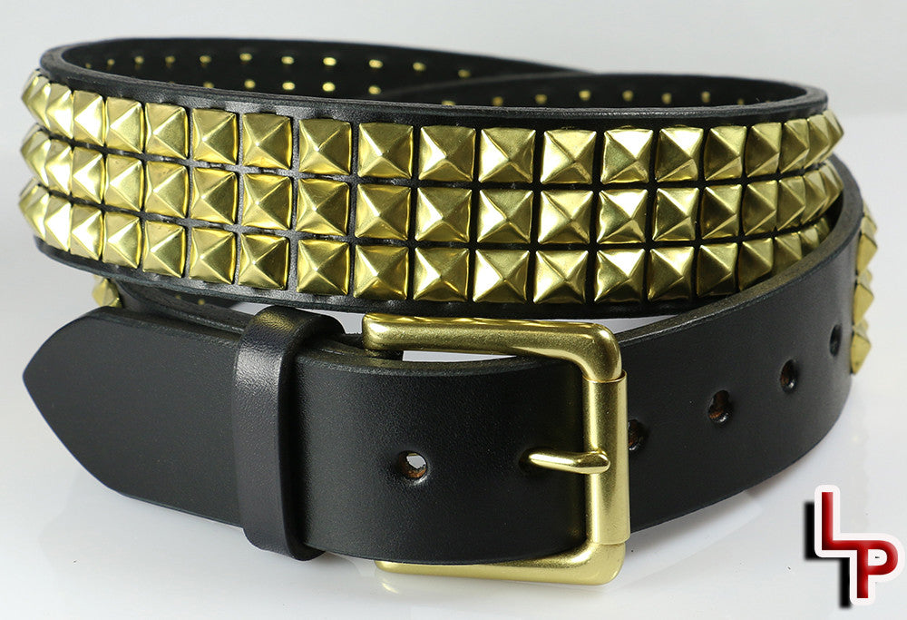 Brass Pyramid Studded Leather Belt, 3 Rows