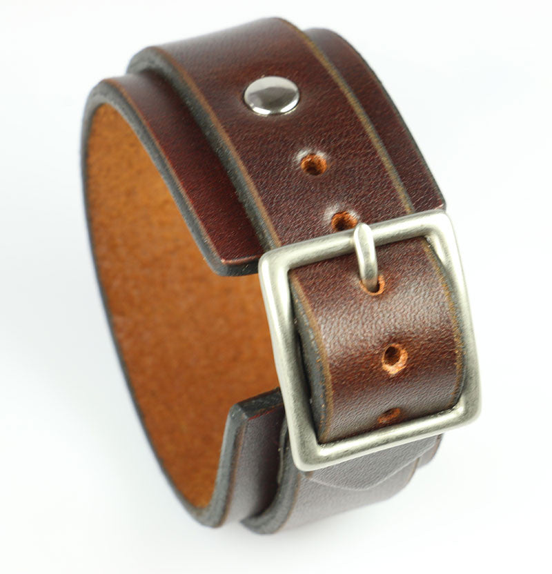 Brown Buckling Leather Wristband 1.25""