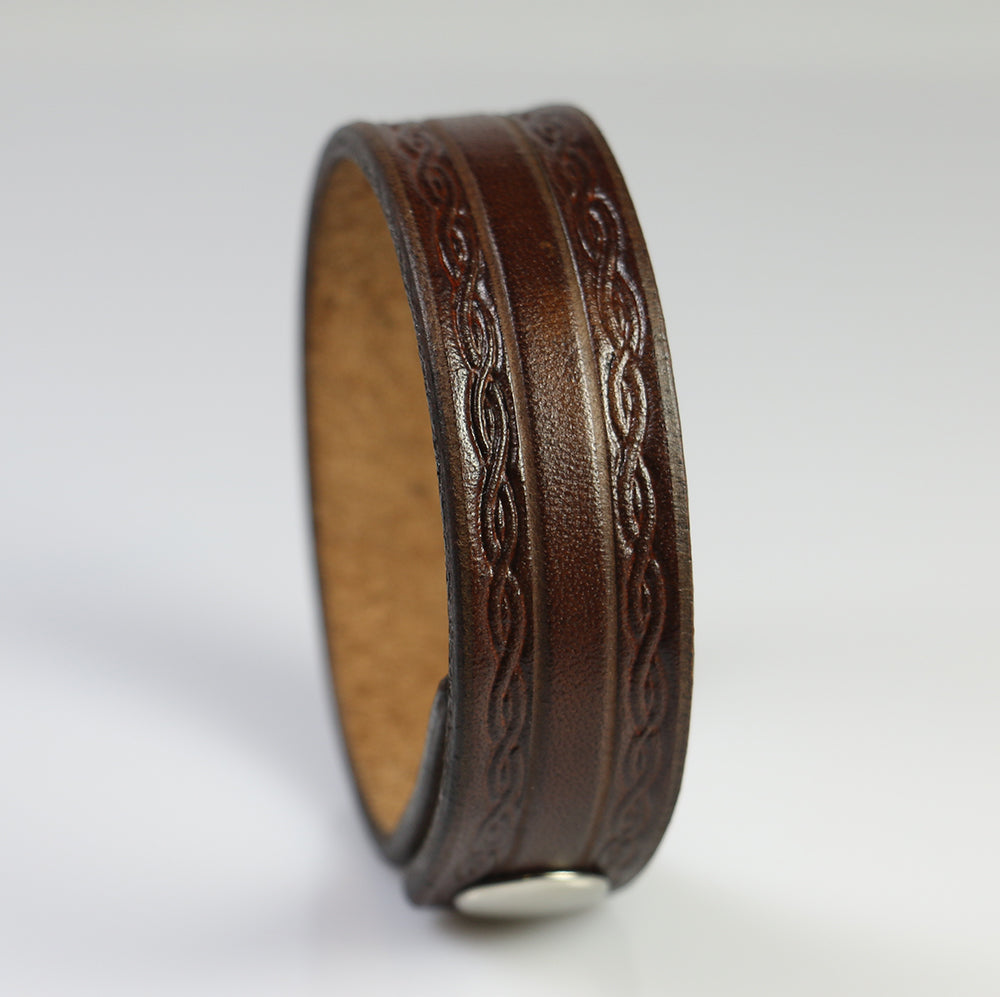 Brown Embossed Leather Bracelet