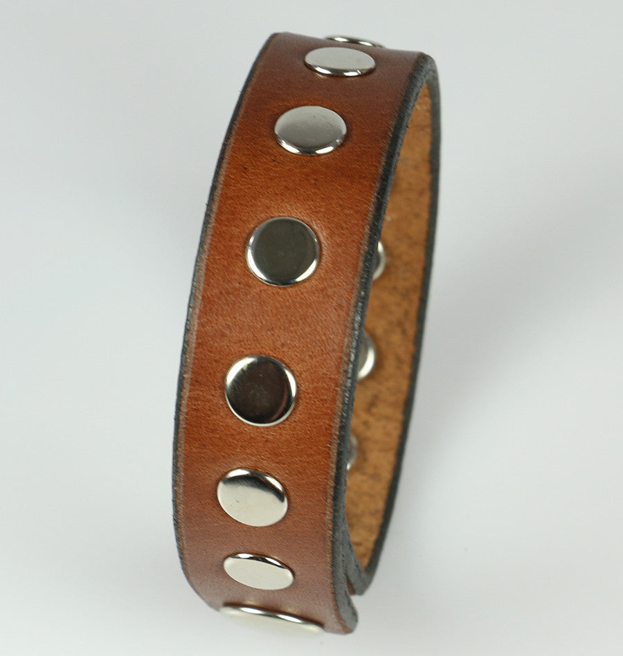 Brown Men's Leather Bracelet with Rivets