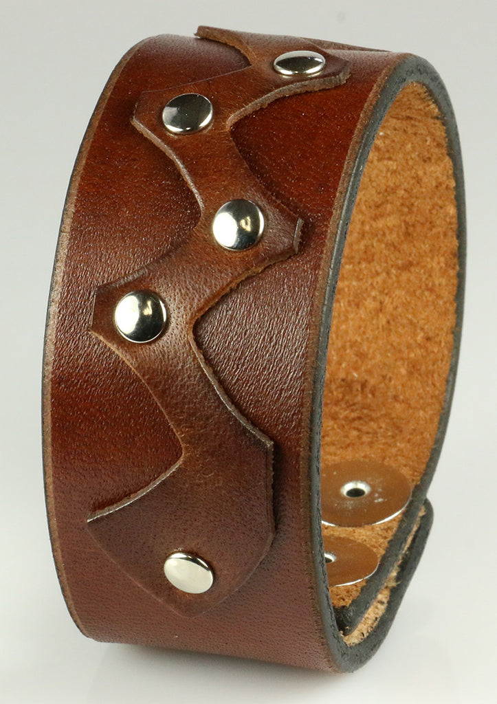Brown Bracelet Cuff With Rivets, 1.25""