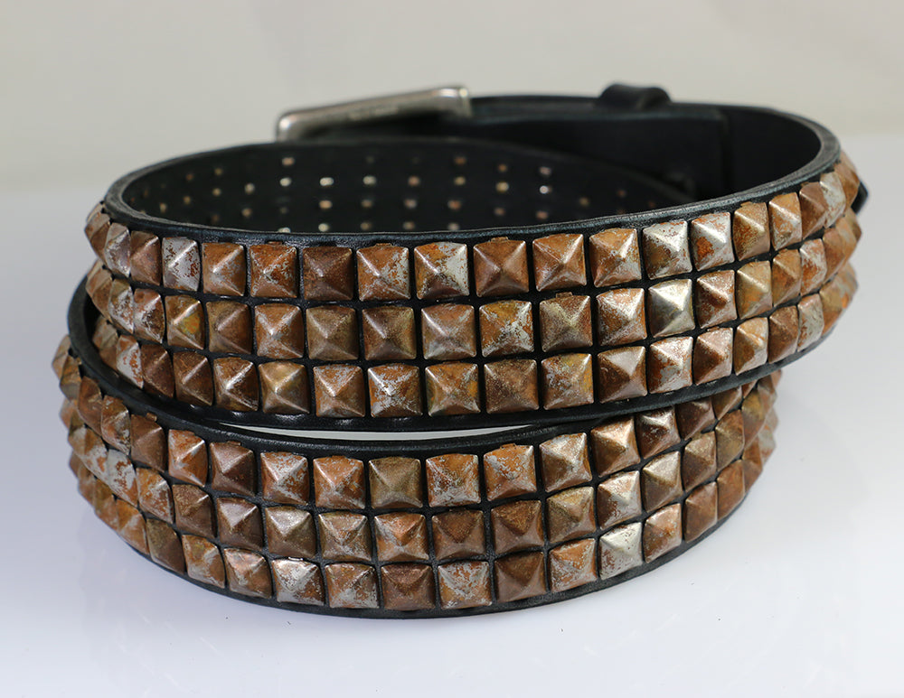 Rusty Pyramid Studded Leather Belt