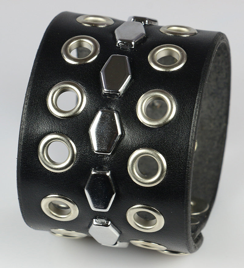 Hexagon Studded Leather Wristband, with Eyelets