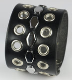Leather Wristband, Eyelets and Hexagon Studs