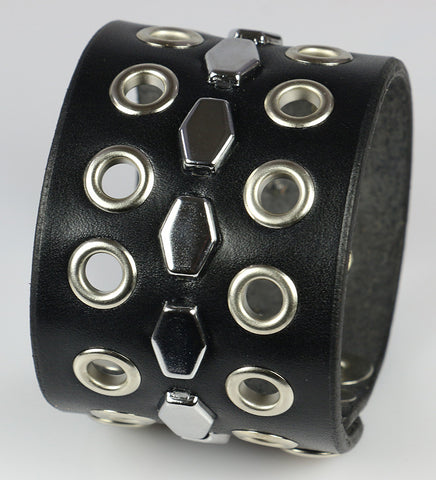 Hexagon/Eyelet Leather Wristband