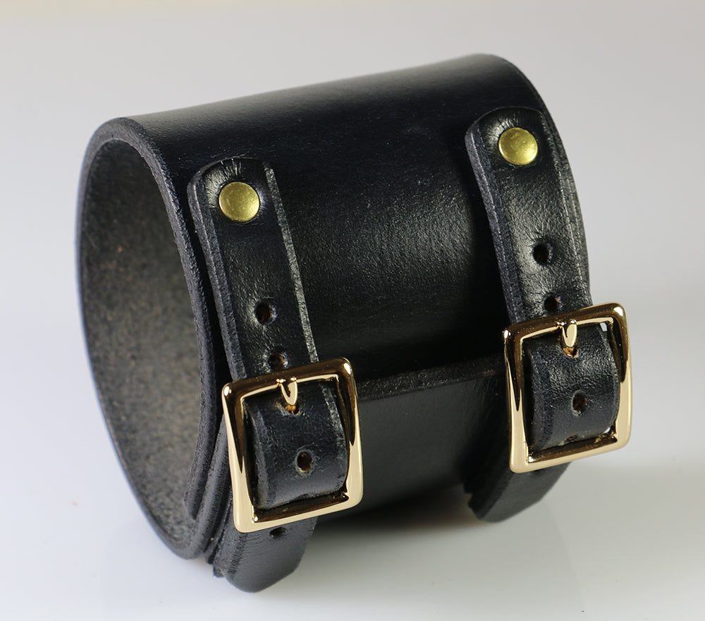 Gold Plated Buckling Wristband, Brass Rivets