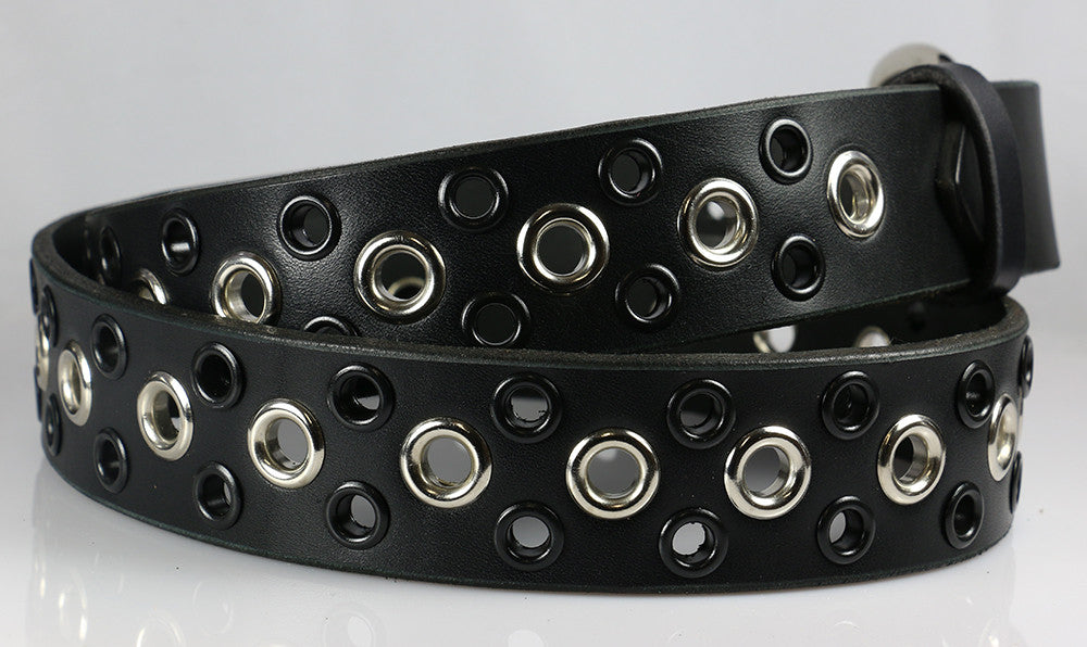 Grommet and Black Eyelets Leather Belt
