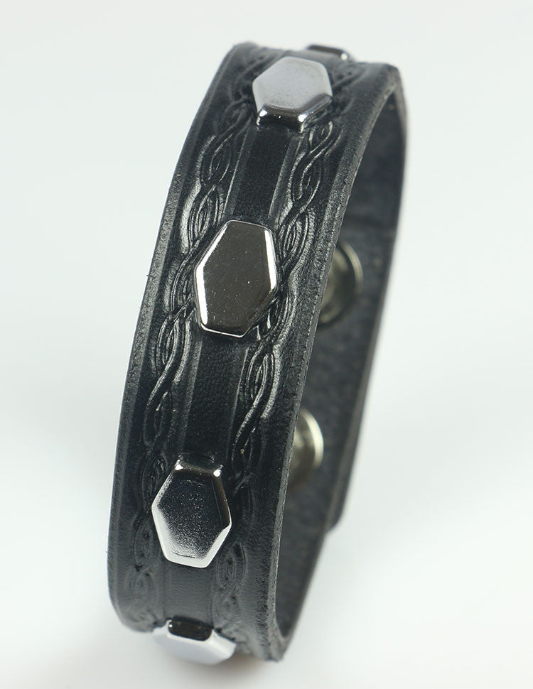 Hexagon studded bracelet with embossing, black leather