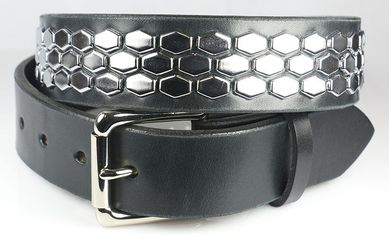 Hexagon Studded Leather Belt