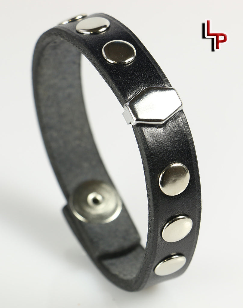 Hexagon and Rivets Leather Bracelet