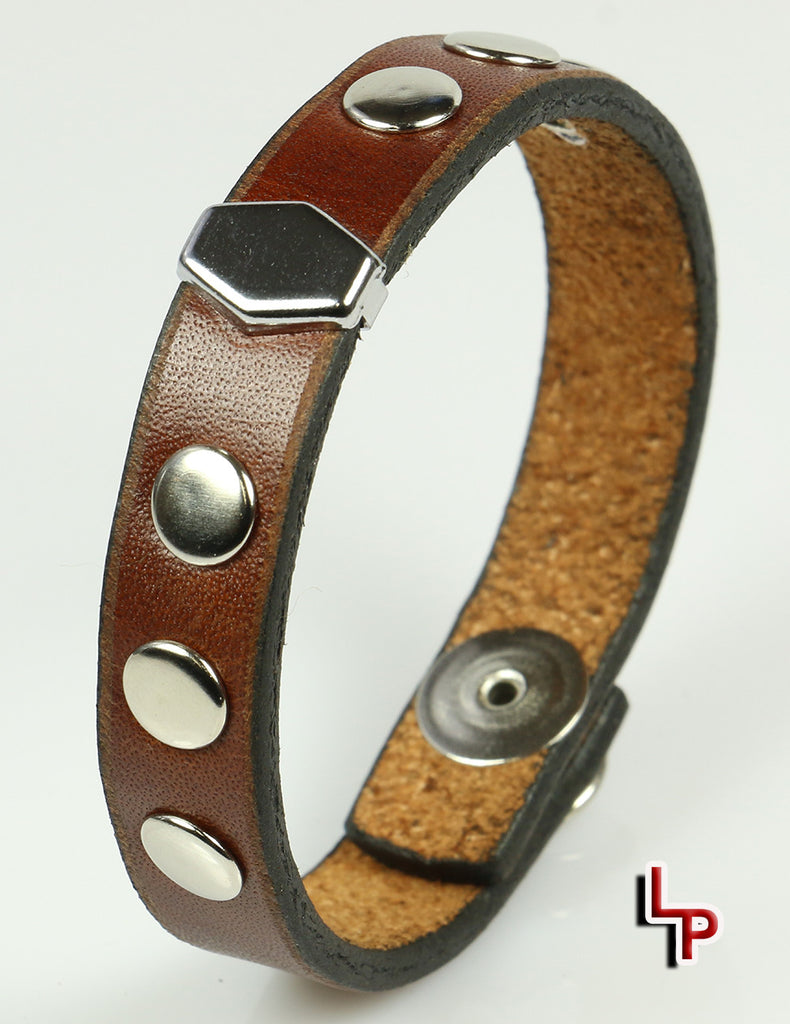 Hexagon Stud Brown Leather Bracelet With Rivets