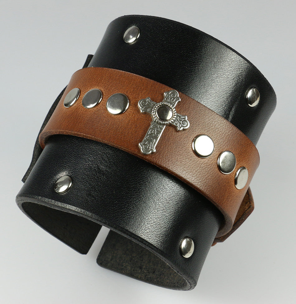 Merle Dixon Leather Cuff With Metal Cross