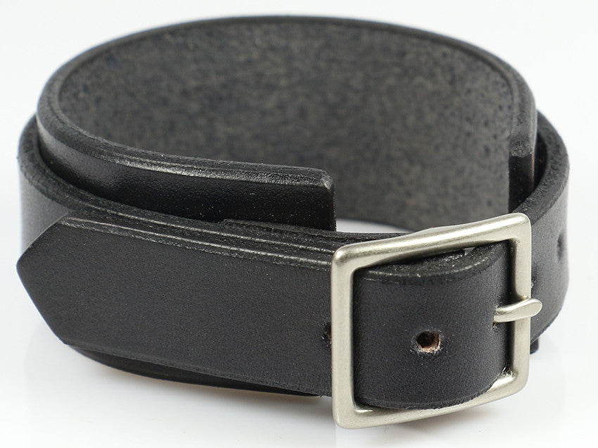 Narrow Buckling Wristband, Black Leather