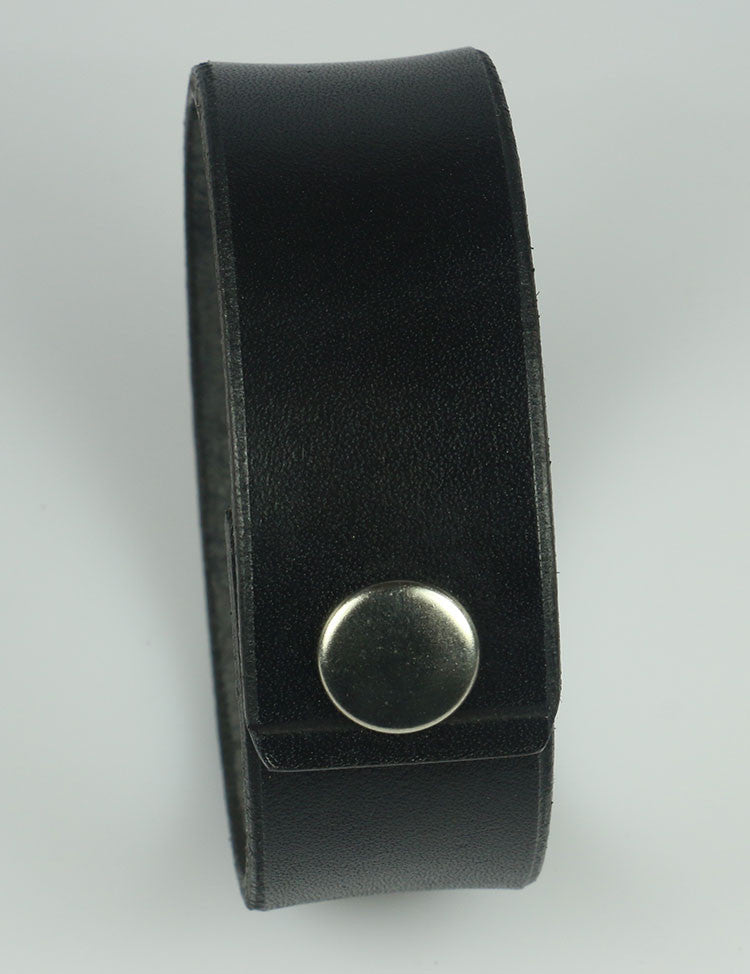 "1"" Wide Black Leather Bracelet"