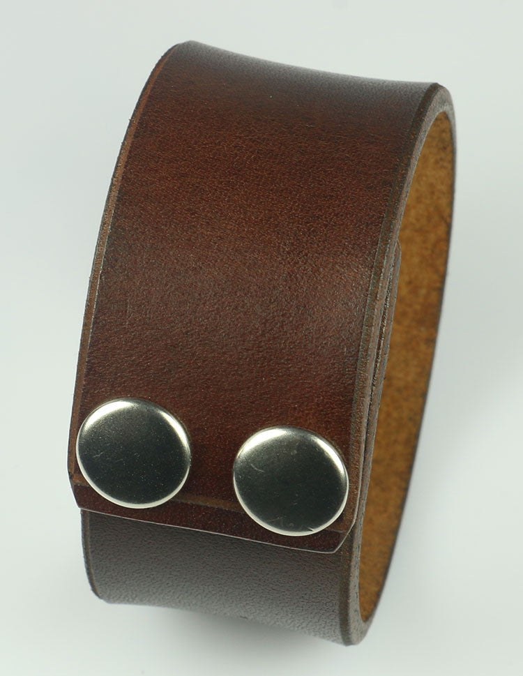 "1.25"" Wide Brown Leather Cuff"