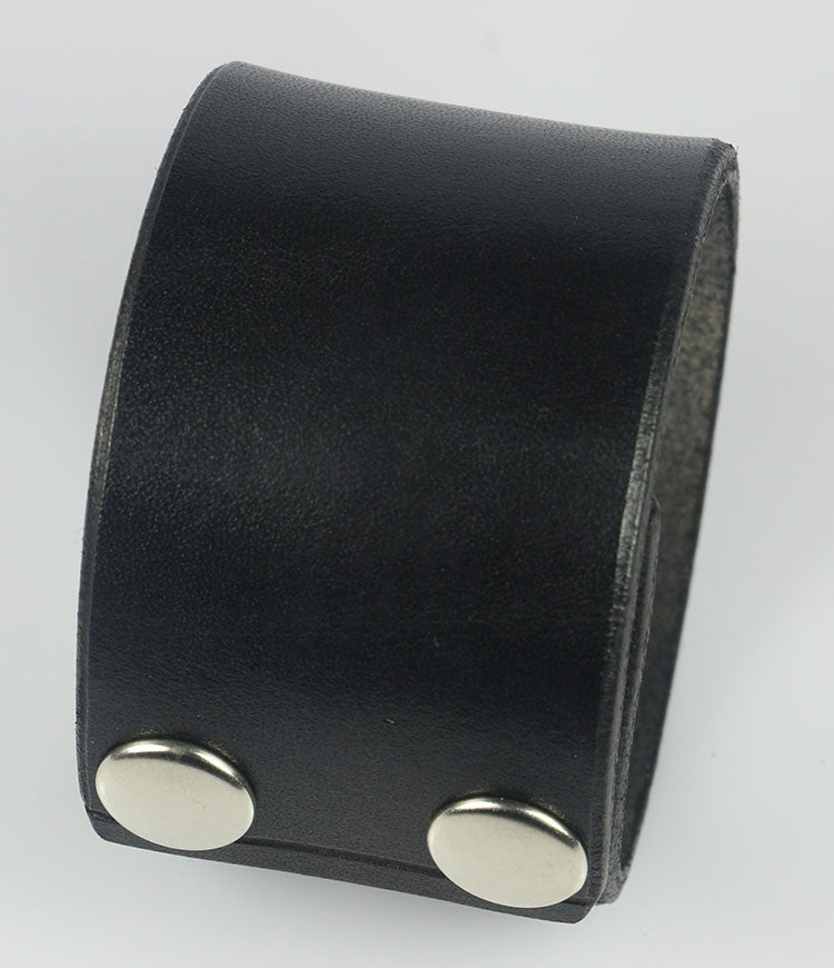 "Plain 1 5/8"" Wide Leather Cuff Wristband, Plain"
