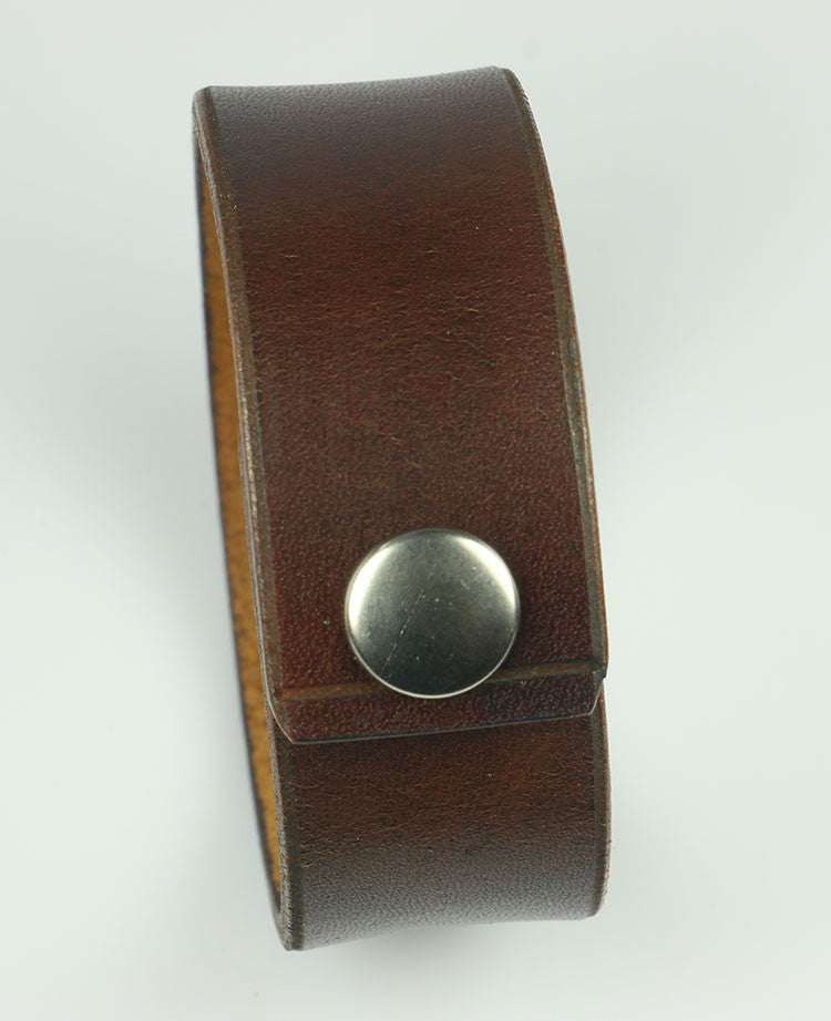 "1"" Wide Plain Brown Leather Bracelet"