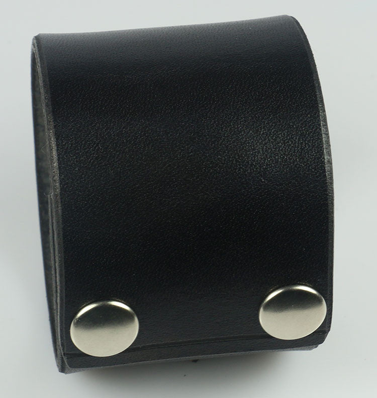 "Plain Black 2"" Wide Leather Wrist band"
