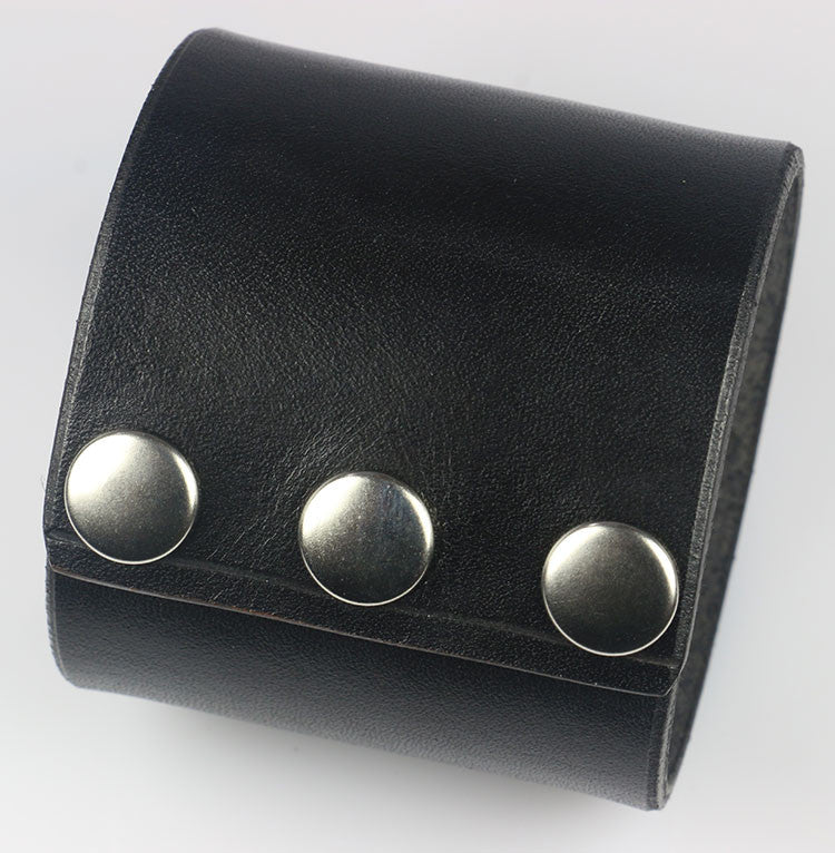 "Plain 2 3/8"" Wide Leather Wrist Cuff, Black"