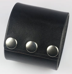Wide Black Leather Wrist Cuff, 2 3/8""